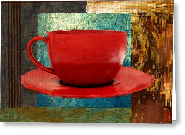 Downtown Cafe Greeting Cards - Coffee Lover Greeting Card by Lourry Legarde
