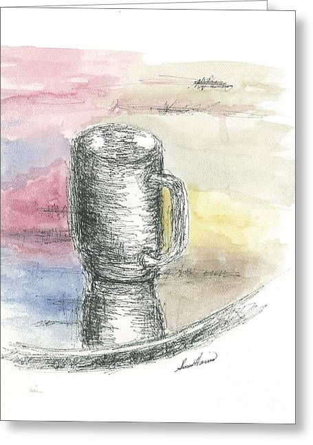Pen And Ink Drawing Greeting Cards - Coffee Moment Greeting Card by Susan Harris