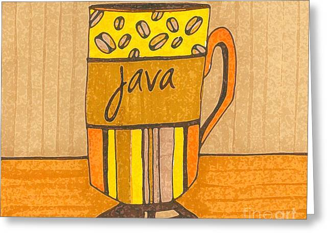 Coffee Mug - Java Cup - Cup Of Joe - Morning Coffee Illustration Art Greeting Card by Patricia Awapara