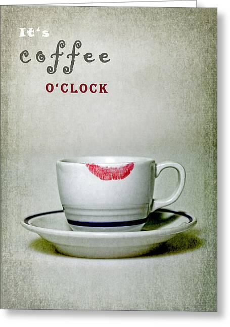 Cup Greeting Cards - Coffee Oclock Greeting Card by Joana Kruse