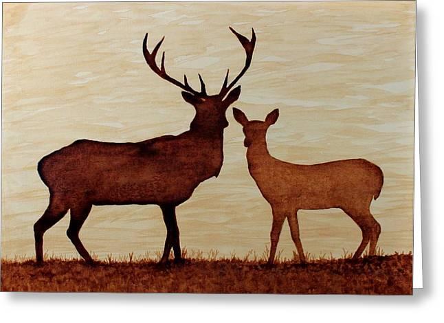 Coffe Greeting Cards - Coffee painting Deer Love Greeting Card by Georgeta  Blanaru