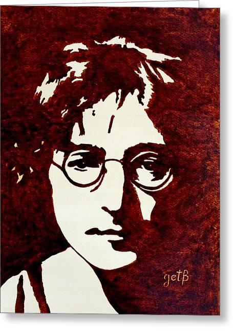Coffee Painting John Lennon Greeting Card by Georgeta  Blanaru