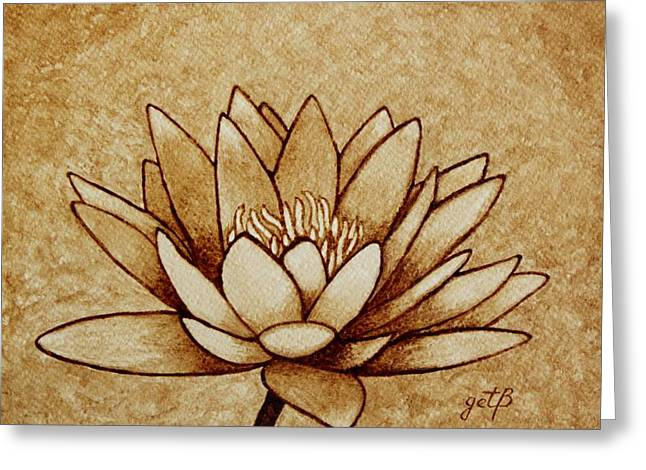 Water Lilly Greeting Cards - Coffee painting Water Lilly Blooming Greeting Card by Georgeta  Blanaru