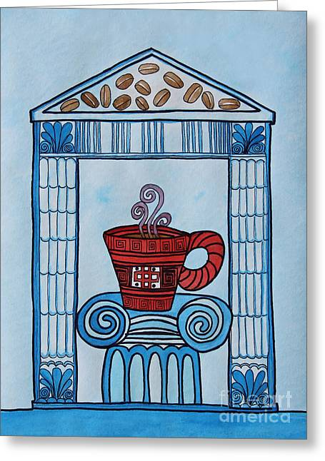 Coffee Palace Blue Greeting Card by Norma Appleton