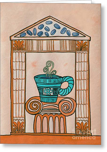 Coffee Palace Terracotta Greeting Card by Norma Appleton