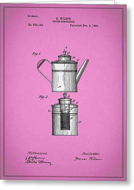 Coffee Grinder Greeting Cards - Coffee Percolator Patent 1894 Greeting Card by Mark Rogan
