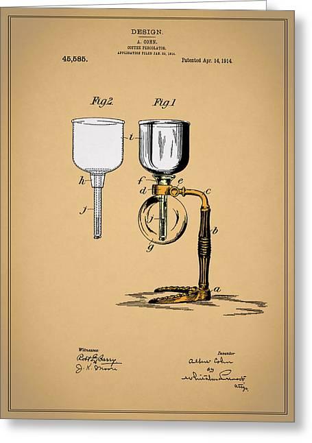 Coffee Percolator Patent 1914 Greeting Card by Mark Rogan