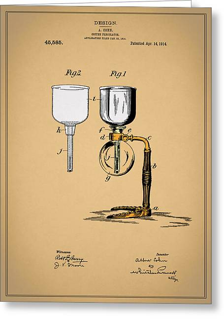 Coffee Grinder Greeting Cards - Coffee Percolator Patent 1914 Greeting Card by Mark Rogan
