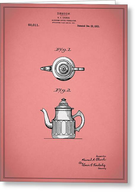 Coffee Grinder Greeting Cards - Coffee Percolator Patent 1921 Greeting Card by Mark Rogan