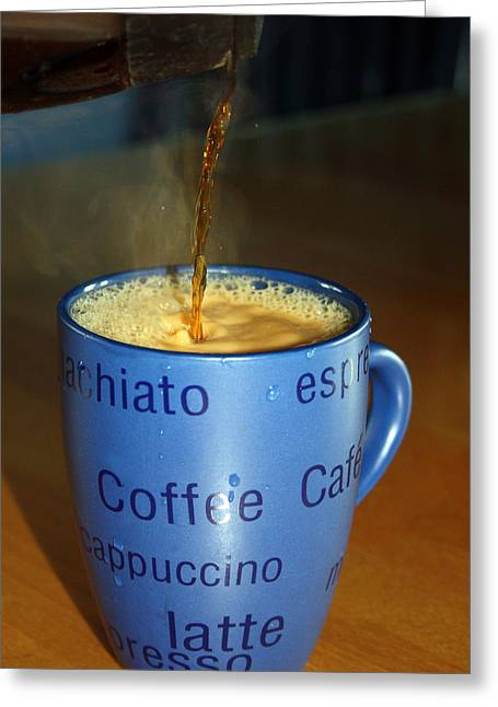 Pouring Greeting Cards - Coffee Please Greeting Card by Cathy  Beharriell