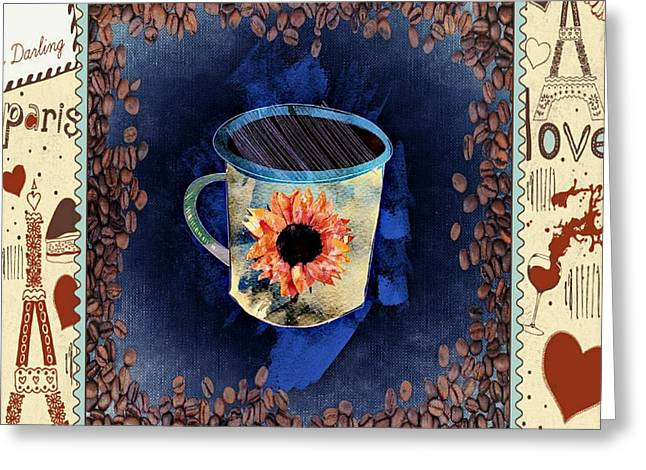 Green Beans Drawings Greeting Cards - Coffee Shop Greeting Card by Craig Williams