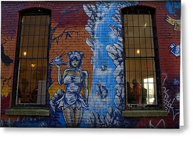 Coffee Shop Graffitte Greeting Card by Elaine Taschuk