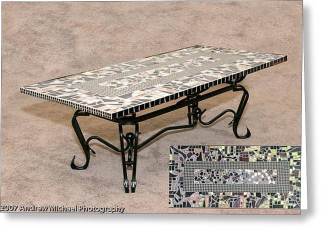 Iron Glass Greeting Cards - Coffee Table Greeting Card by Diane Morizio