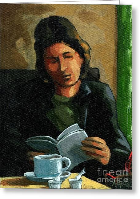 Coffee Time Greeting Card by Linda Apple