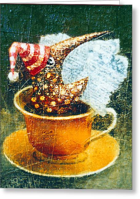 Fantasy Creatures Greeting Cards - Coffee Time Greeting Card by Lolita Bronzini