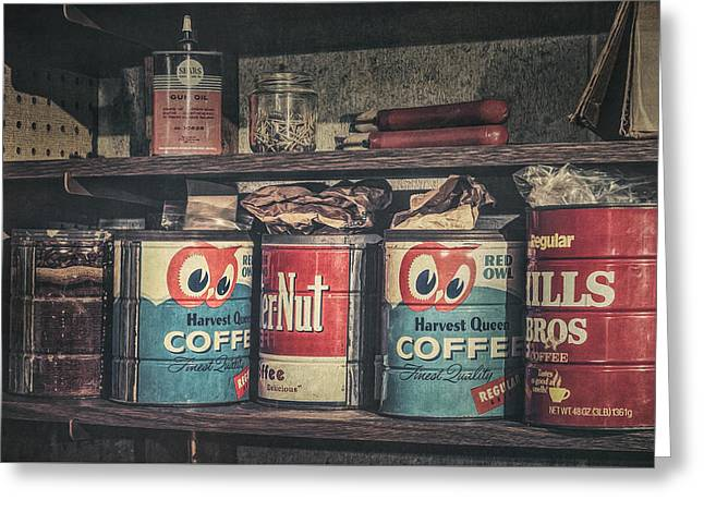 Coffee Tins All In A Row Greeting Card by Scott Norris
