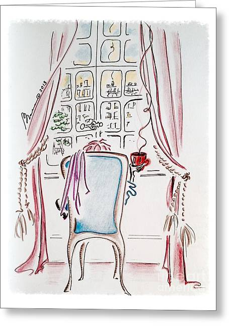 Daydream Drawings Greeting Cards - Coffee with a View Greeting Card by Barbara Chase