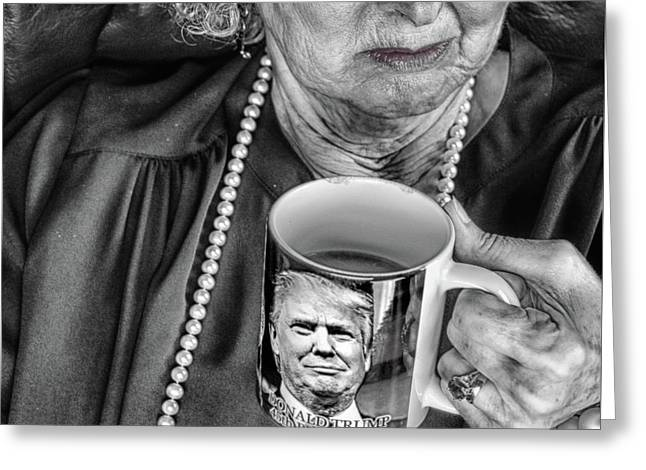 Coffee With Trump  Greeting Card by Steven Digman