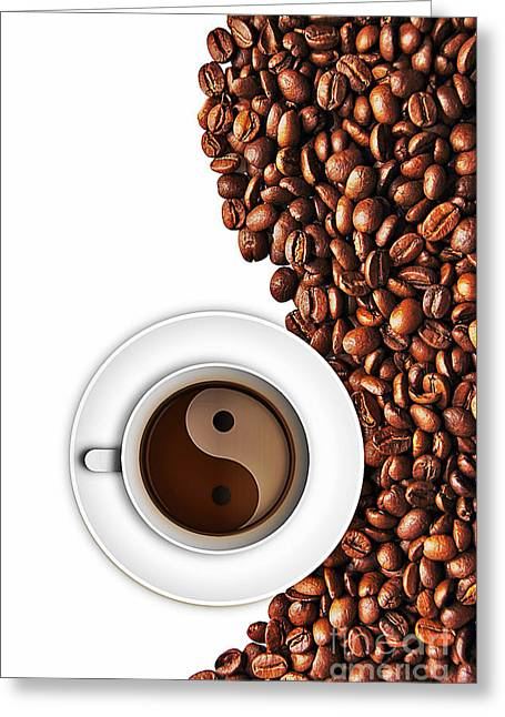 Yang Greeting Cards - Coffee yin and yang Greeting Card by Binka Kirova