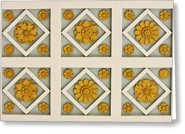 Best Sellers -  - Geometric Effect Greeting Cards - Coffered Ceiling Detail at Getty Villa Greeting Card by Teresa Mucha