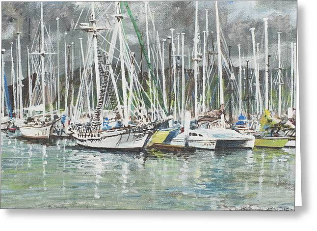 Docked Boats Greeting Cards - Coffs Harbour Greeting Card by Vincent Alexander Booth
