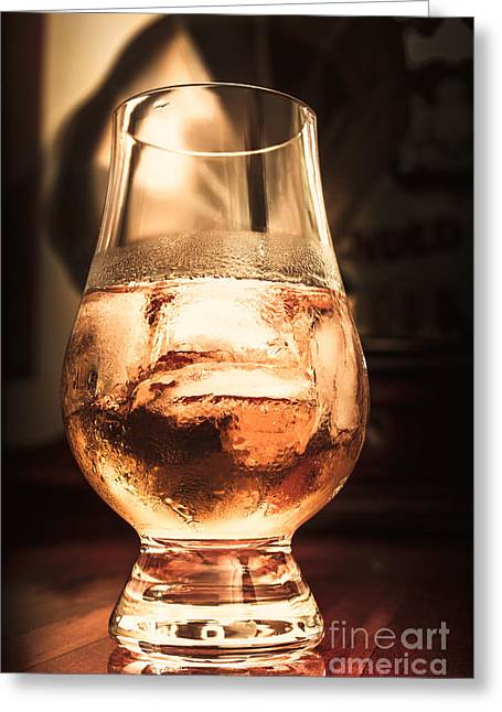 Cognac Glass On Bar Counter Greeting Card by Jorgo Photography - Wall Art Gallery