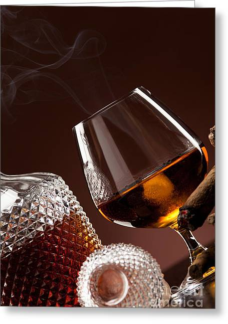 Cognac In Snifter And A Cigar Greeting Card by Wolfgang Steiner