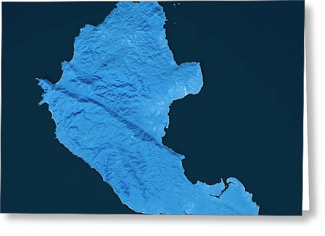 Coiba Island Topographic Map Blue Color Top View Greeting Card by Frank Ramspott