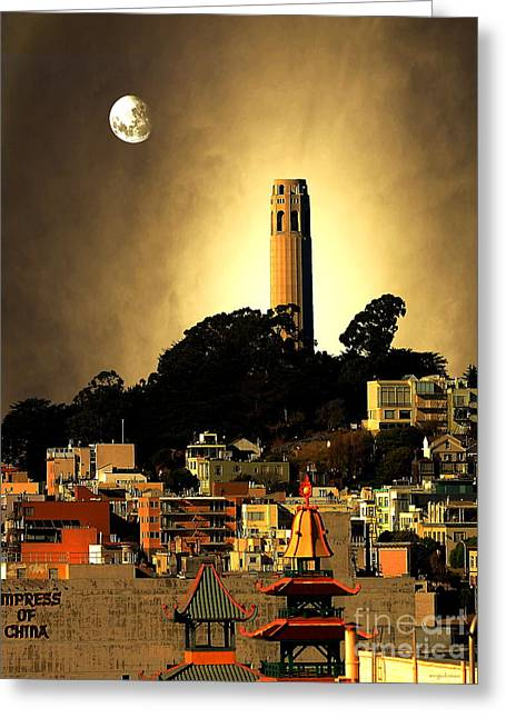 Wingsdomain Mixed Media Greeting Cards - Coit Tower and The Empress of China Under The Golden Moonlight Greeting Card by Wingsdomain Art and Photography