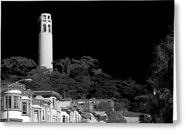 Process Greeting Cards - Coit Tower Greeting Card by Anthony Citro