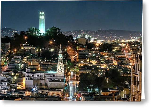 Recently Sold -  - Bay Bridge Greeting Cards - Coit Tower at Night Greeting Card by Dan Shehan