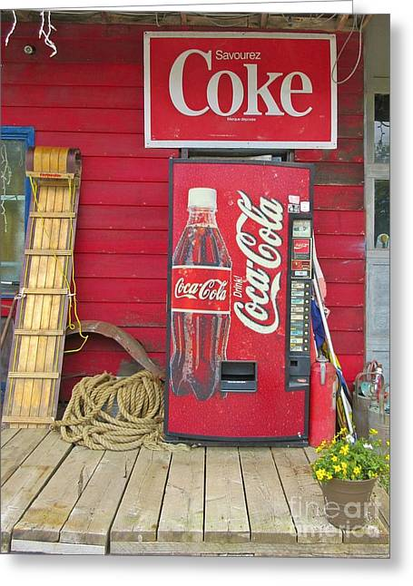 Store Fronts Greeting Cards - Coke Greeting Card by Crystal Loppie