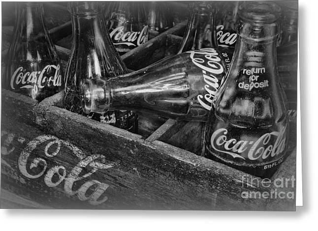 Sweetie Greeting Cards - Coke Return for Deposit in black and white	 Greeting Card by Paul Ward