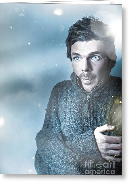 Cold Blue Winter Man Outside In Falling Snow Greeting Card by Jorgo Photography - Wall Art Gallery
