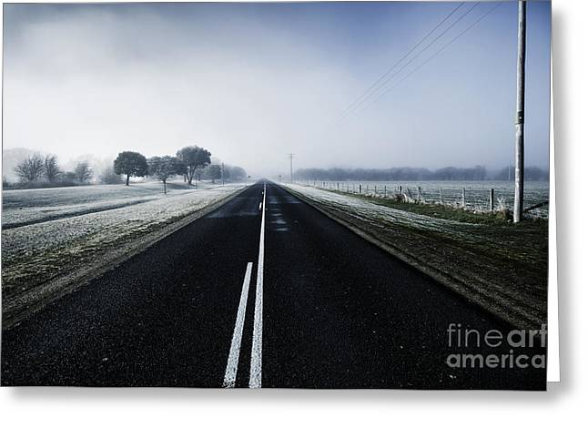 Cold Blue Winter Road Greeting Card by Jorgo Photography - Wall Art Gallery