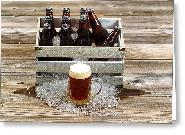 Space Draughts Greeting Cards - Cold dark beer with vintage crate filled with ice cold bottled b Greeting Card by Tom  Baker