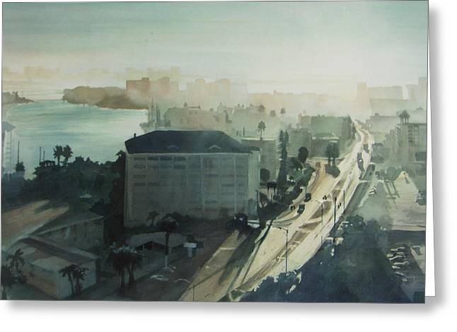 Cold Dawn on Gulf Boulevard Greeting Card by Elizabeth Carr