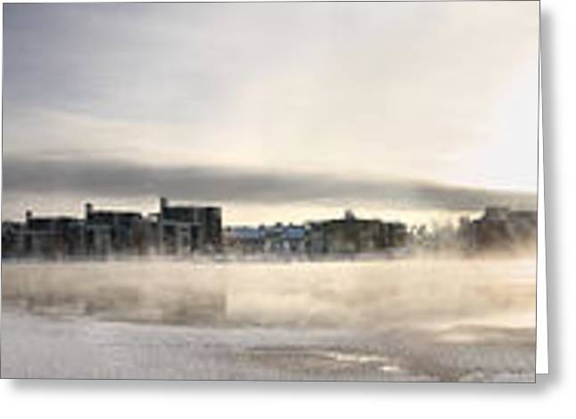 Temperature Greeting Cards - Cold day foggy river panorama Oulu Greeting Card by Sandra Rugina
