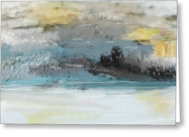 Cold Day Greeting Cards - Cold Day Lakeside Abstract Landscape Greeting Card by David Lane