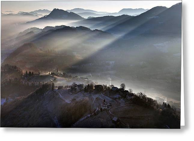 Aerial Greeting Cards - Cold Greeting Card by Matjaz Cater