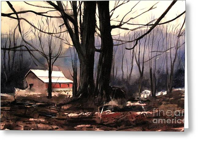 Cold Mists Behind The Ol Place Greeting Card by Charlie Spear