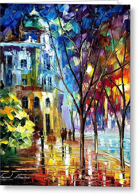 Popular Art Greeting Cards - Cold Resolution - PALETTE KNIFE Oil Painting On Canvas By Leonid Afremov Greeting Card by Leonid Afremov