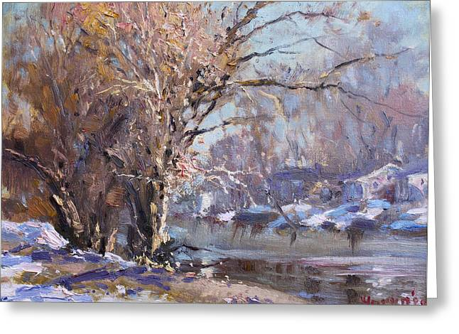 Tree Reflections Greeting Cards - Cold Spring in LaSalle Greeting Card by Ylli Haruni