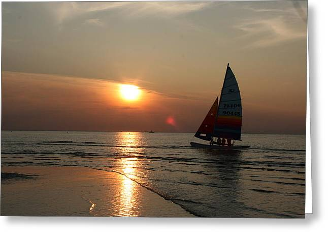 Cold Storage Beach Sunset Greeting Card by Sarah Eaton