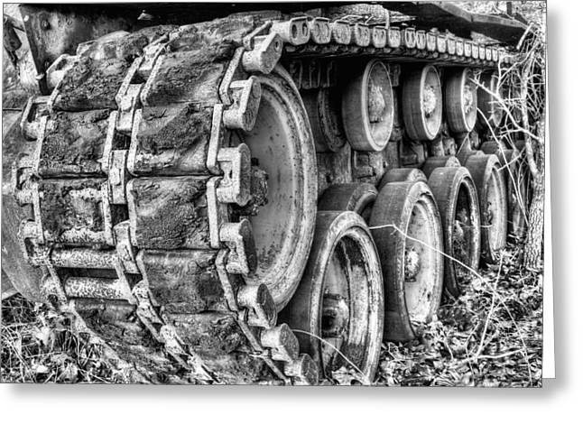 Army Tank Greeting Cards - Cold War Rust Black and White Greeting Card by JC Findley