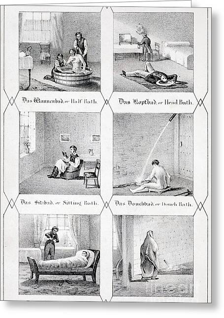 Cold Water Cure, Hydropathy, 1843 Greeting Card by Paul D. Stewart