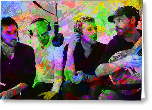 Coldplay Band Portrait Paint Splatters Pop Art Greeting Card by Design Turnpike