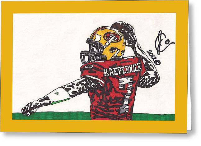 49ers Drawings Greeting Cards - Colin Kaepernick 1 Greeting Card by Jeremiah Colley