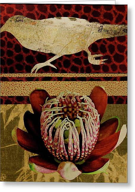 Flower Design Greeting Cards - Collage A6 Greeting Card by Betty OHare