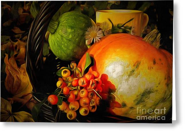Print On Canvas Greeting Cards - Collage LIT In Ambiance Greeting Card by Catherine Lott